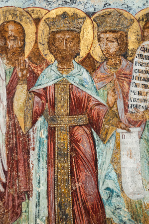 saintliness: Christian mural painting of apostles in Tikhvin, Russia