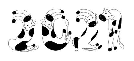 creative logo of 2021 from numbers in the form of cows. new year according to the chinese eastern horoscope. symbol of the year - cow, bull, ox. vector illustration in outline style. Illustration