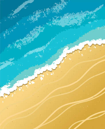 vector painted background of sea sand beach. Sea waves and yellow beach.