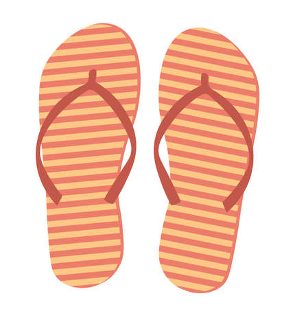 striped flip flops isolated on white background.