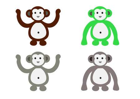 manners: different color skins and manners of monkey cartoon characters