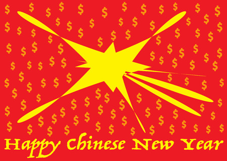 booming: happy chinese new year booming with dollar signs symbol