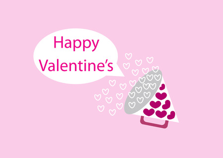booming: happy valentines day booming with heart symbol bubbles splash