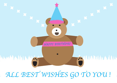 big brown bear cartoon character smiling with happy birthday messages Vector
