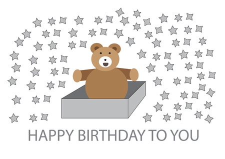 booming: big bear inside box blessing happy birthday with star booming