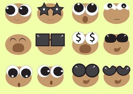 different kinds and styles of eyes and sunglasses Vector