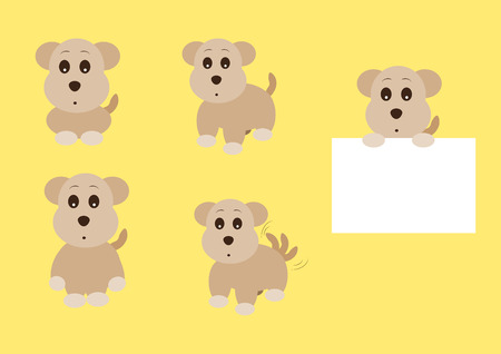 manners: cute dogs set vector illustration with different manners Illustration