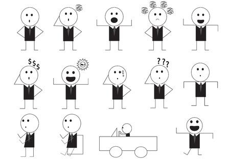 manner: different man manner signs vector illustration cartoon set in black drawing