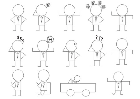 manner: different man manner signs vector illustration cartoon set in drawing