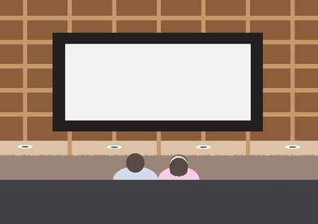 couple watching tv mounted on the wall vector illustration
