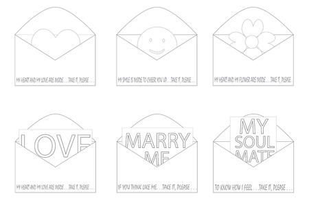 mail me: linear loves inside envelope vector illustration set with different messages and signs about love