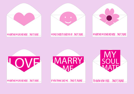 soul mate: loves inside envelope vector illustration set with different messages and signs about love