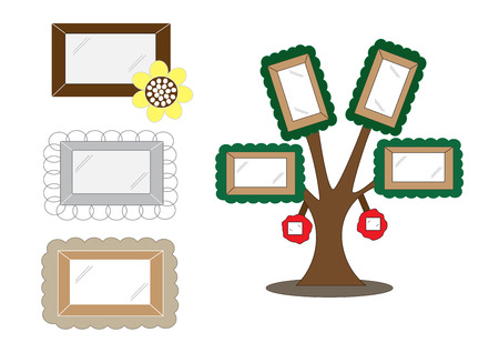 treelike: cute cartoon frames vector illustration set with different frames curve styles and tree-like style