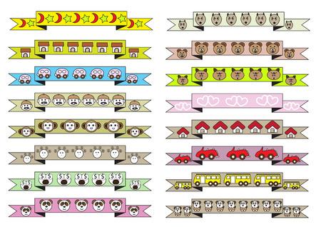 estrella caricatura: diferente estilo de dibujos animados ilustraci�n lindo cintas vector conjunto con diversos animales lindos de la historieta y las diferentes casas de dibujos animados lindos y diferentes veh�culos lindos de la historieta