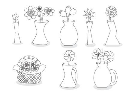 Linear Beautiful Cartoon Flower Vases Vector Illustration Set