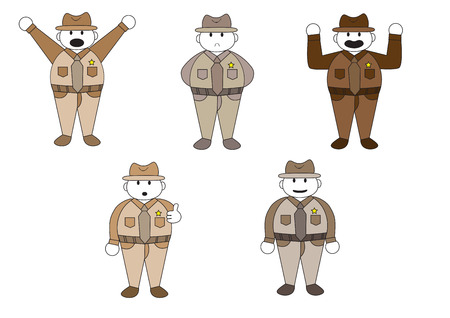 manners: officer cartoon character vector illustration isolated set with various manners