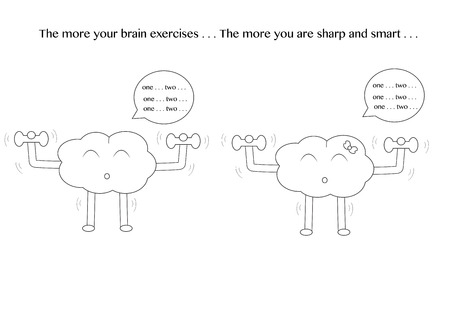 iq: linear brain male and female cartoon characters vector illustration set are exercising with dumbbells and have a message text on the top