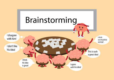 manners: brainstorming cartoon characters vector illustration with different brain vector manners