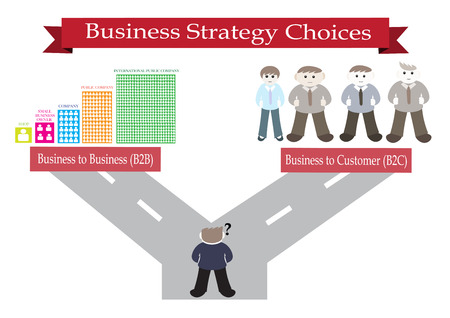 b2c: business strategy choices vector illustration with road direction to the choice of business to business (B2B) and the choice of business to customer (B2C)