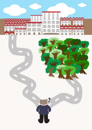 go green concept cartoon vector illustration to choose between going green or building city Vector