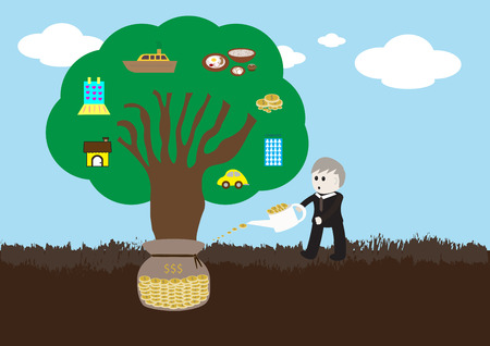 growing money: wealth tree growing cartoon vector illustration showing man watering money to build wealth tree produce house, car, company, food, money, cloth and ship Illustration