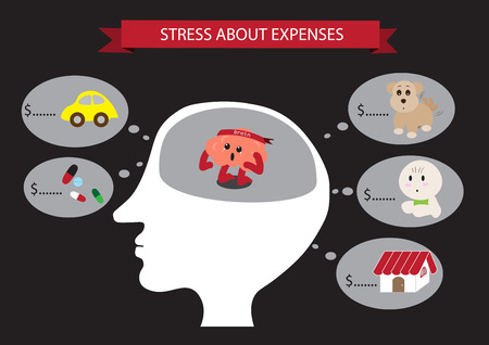 stressful: brain cartoon characters vector illustration inside head showing stressful brain vector cartoon about expenses