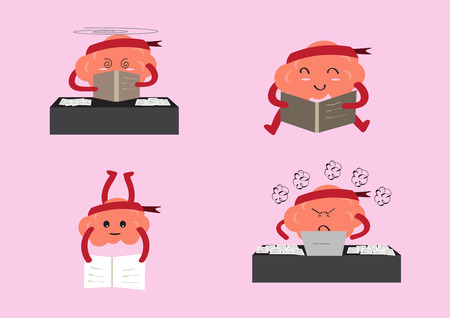 manners: brain cartoon character vector illustration showing different learning manners and emotion faces