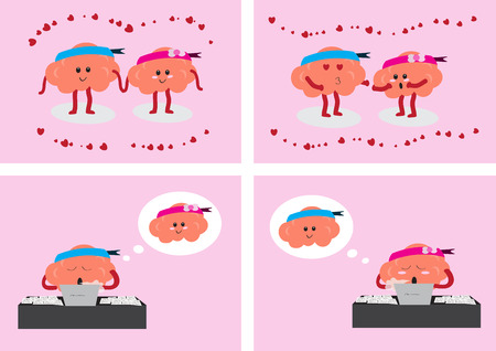 relate: brain couple cartoon character vector illustration showing 4 styles about how brain couple in love