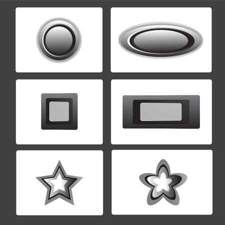 metal button collection vector illustration set showing round shape, rectangular shape and star shape Vector
