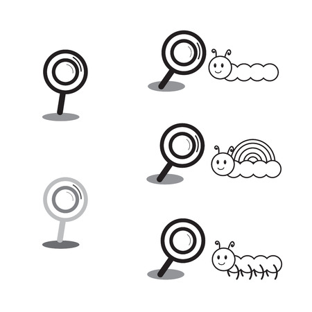 centipede: black magnifying glass and animal cartoon characters vector illustration collection set showing magnifying worm, snail and centipede Illustration