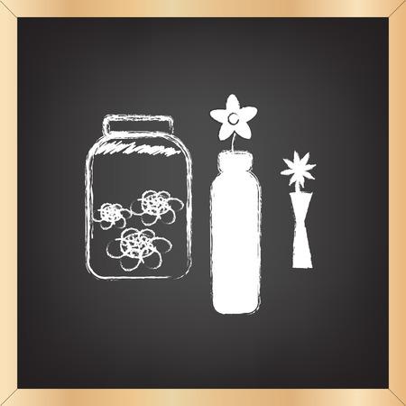 dessin fleur: noir tableau illustration vectorielle avec cadre en bois et le dessin de fleurs sur le tableau noir