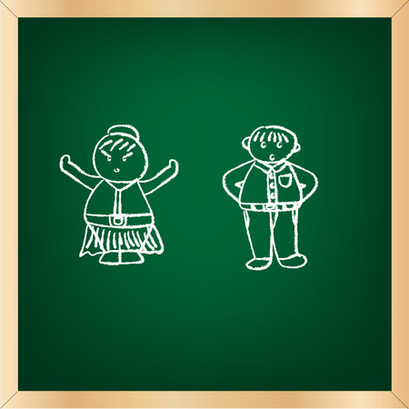 wood frame: green chalkboard vector illustration with wood frame and doodle drawing on green board