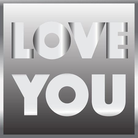 love image: love you metal sign vector illustration image showing love and you wording with metal frame Illustration