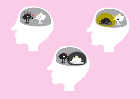 wicked set: brain cartoon characters vector illustration set inside head with brain angel vector and brain devil vector fighting showing fighting and with each winning
