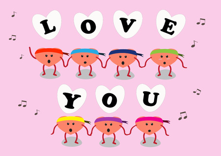 love song: heart cartoon character vector illustration with letters of love you and singing a song