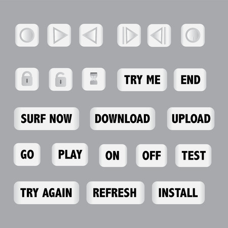 commands: glossy buttons vector illustration collection set showing all important commands for technology