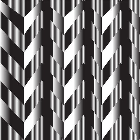 back and forth: black and white zigzag silver background showing black and white shading back and forth with silver line as background Illustration