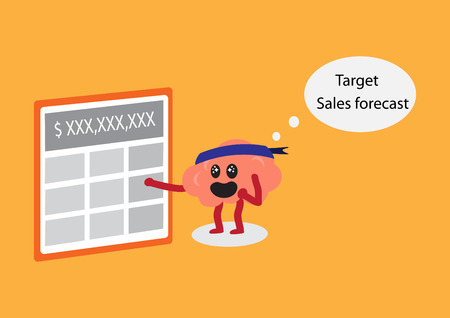 calculating: brain calculating vector illustration image showing brain cartoon character pressing a button of calculator to calculate the target sales forecast