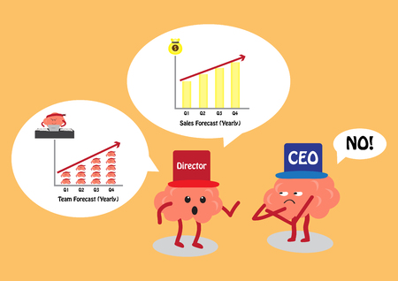 sales team: brain cartoon character vector illustration image showing two brain characters from two working positions CEO and Director have working discussion about sales forecasting and team staff forecasting Illustration