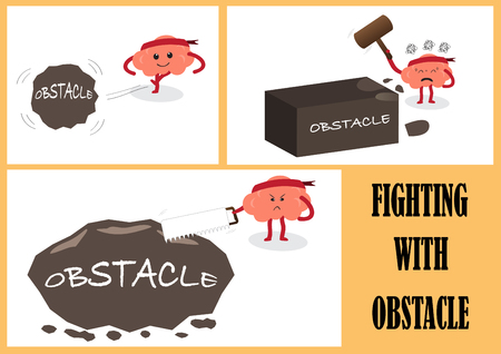 brain illustration: brain cartoon characters vector illustration image showing brain cartoons actions and emotion faces fighting with obstacle