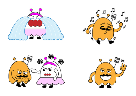 manners: monster couple cartoon characters vector illustration in 4 manners such as crying, fighting, singing, agree