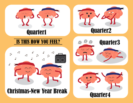 quarter: brain cartoon characters vector illustration image showing brain cartoons actions and emotion faces on each quarter and during christmas-new year break