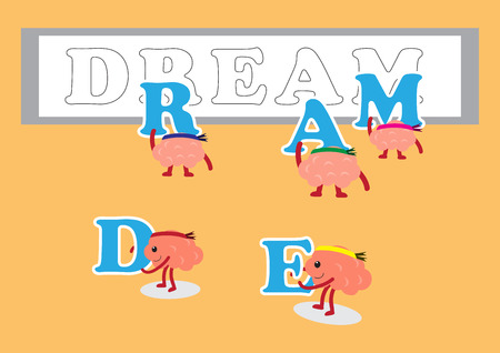posting: brain cartoon character vector illustration posting letters of dream (conceptual image about teamwork that helping together to build the dream)