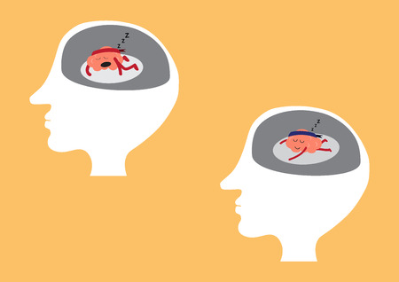 lay down: brain cartoon character vector illustration showing different sleeping manners inside human head (conceptual image about brain is not working when you are tired or exhausted or sleeping or relaxing) Illustration