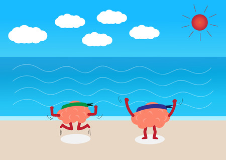 excite: brains cartoon character vector illustration showing how happy they are (conceptual image about how people are happy on vacation at the beach)