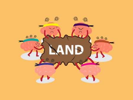 react: brains cartoon character illustration snatching for land board by pulling out with both hands