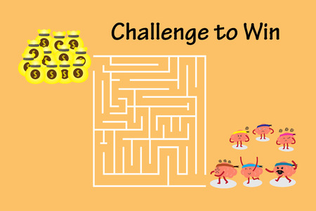win money: brains cartoon character illustration walking to maze to win money