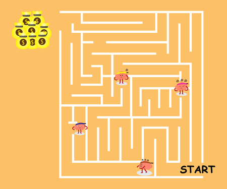 moody: brains cartoon character illustration confused in maze