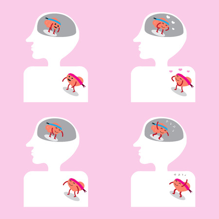 well head: brain and heart cartoon character illustration image showing action moments getting together well inside head and human body (conceptual image about thought and passion are in same directions)