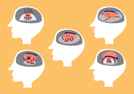 manners: brain cartoon character illustration showing different depressing manners inside human head (conceptual image about brain reacting when you are depressed) Illustration